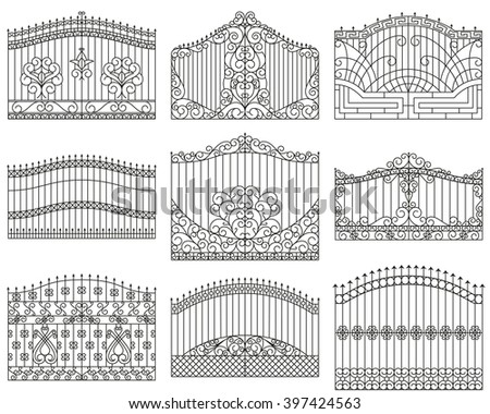 ornate wrought iron gate. forged gates set decorative metal with swirls arrows and ornaments ornate wrought iron gate