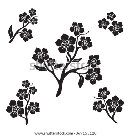 Forget-me-not (myosotis) graphic flower silhouettes - stock vector
