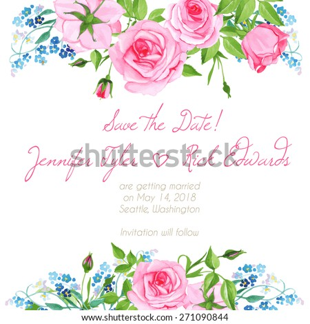 Forget me nots and pink roses floral design frame vector element - stock vector