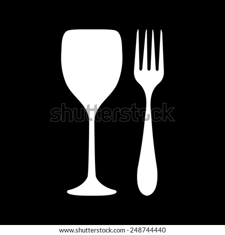 Fork and glass on a black background - stock vector
