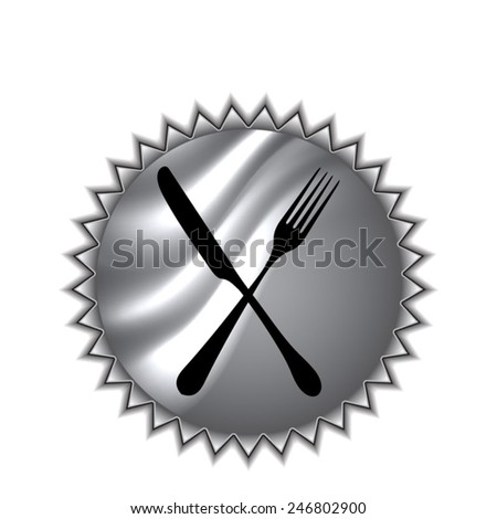 fork and knife - illustration on round sticker