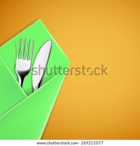 Fork and knife in a napkin. Vector image.