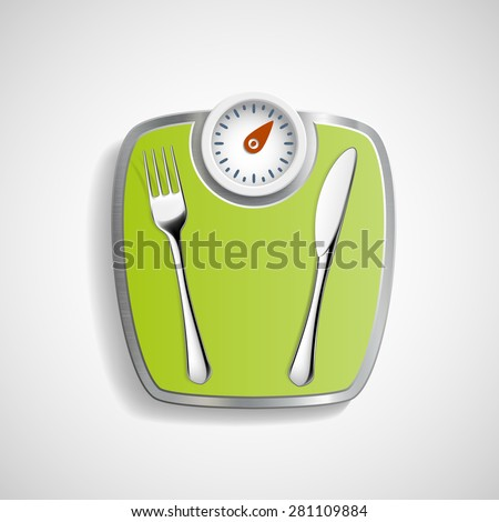 Fork and knife lying on the scales for weighing. - stock vector