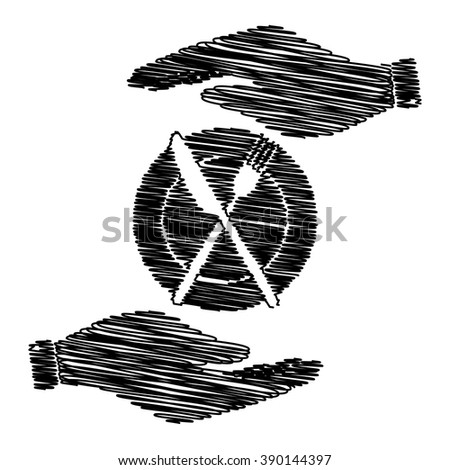 Fork and Knife sign. Save or protect symbol by hands with scribble effect.