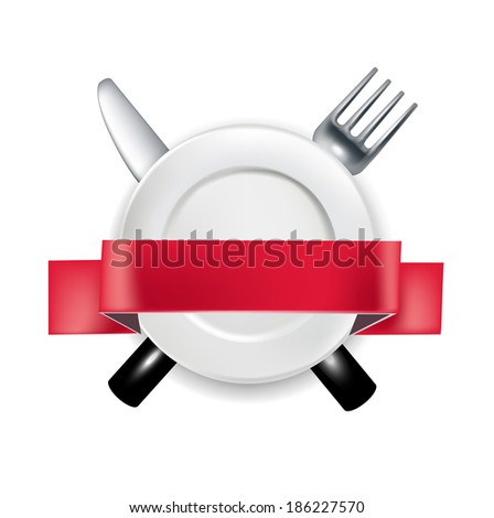 fork and knife with plate and red ribbon banner vector illustration isolated - stock vector
