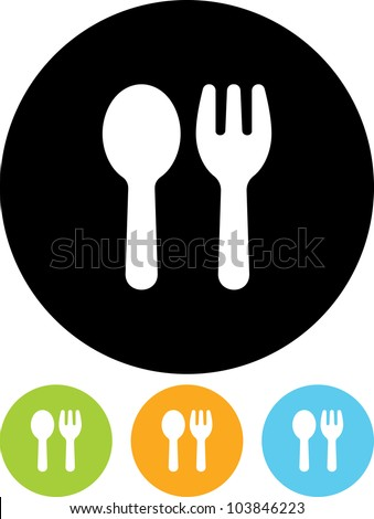 Fork and spoon emblem - Vector icon isolated