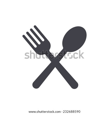 fork and spoon icon - stock vector