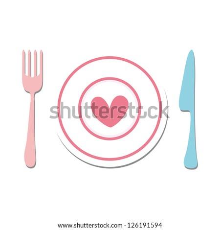 Fork, heart, knife. - stock vector