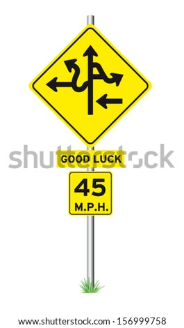 fork in road sign  - stock vector