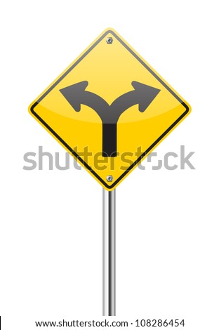 Fork in the road sign on white - stock vector