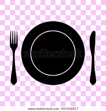 fork knife and plate vector icon - black illustration