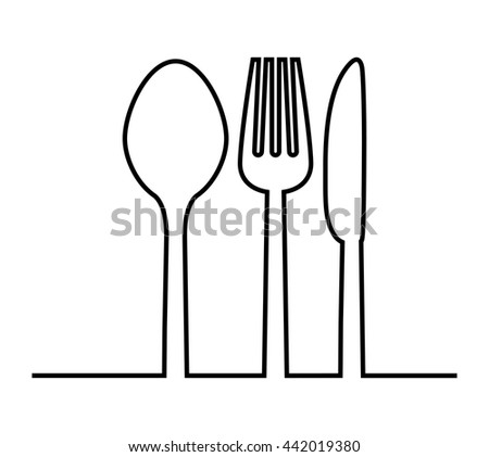 fork, knife and spoon icon. Cutlery and menu. vector graphic - stock vector