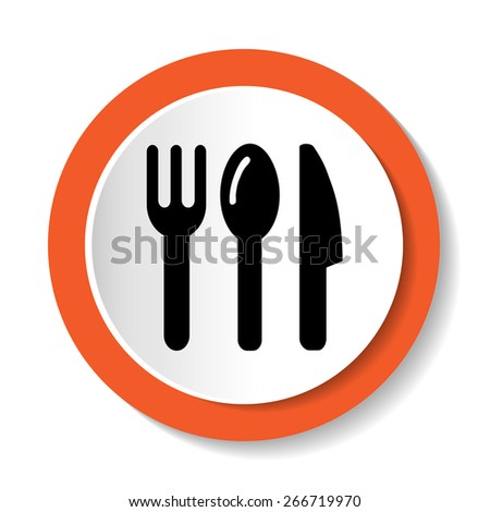 Fork, knife and spoon icon on white background - stock vector