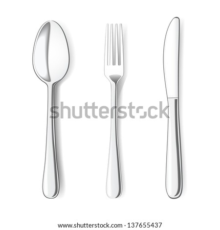 Fork, Knife and Spoon on white background. Vector illustration