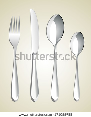 fork ,knife and spoons - stock vector