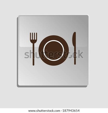 fork, knife, plate, vector,  - stock vector