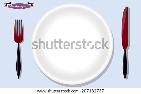fork knife plate vector