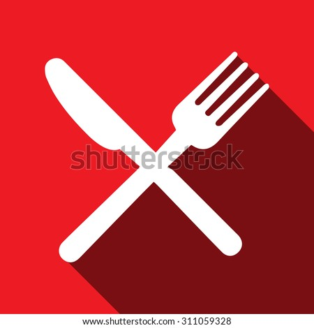 Fork, knife, spoon icon vector image - stock vector