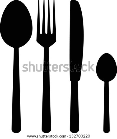fork knife spoon silhouette - stock vector