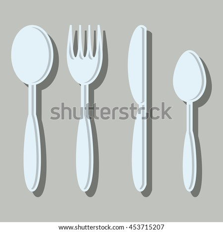 Fork, knife, tablespoon, little tablespoon sign icon. Cutlery collection set symbol. Vector illustration. flat design.