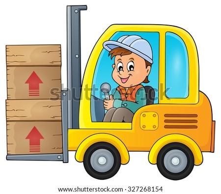 Fork lift truck theme image 1 - eps10 vector illustration. - stock vector