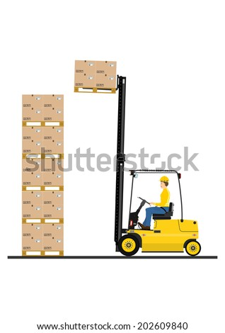 Fork lift truck while working on a white background. Vector  - stock vector