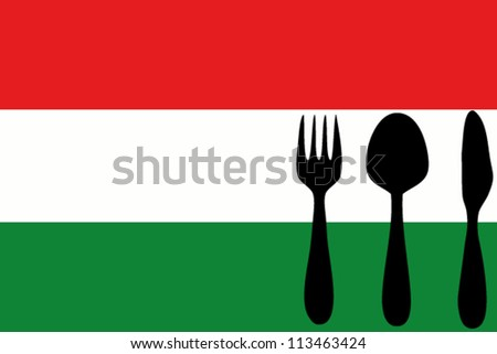 Fork, spoon and knife isolated on the Hungary flag