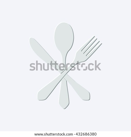 fork spoon and knife - light gray vector icon