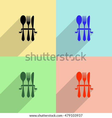 Fork spoon and knife vector icon - colored set with  long shadow