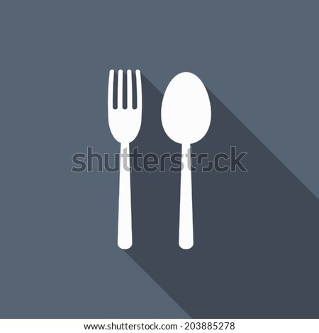 fork & spoon icon with long shadow - stock vector