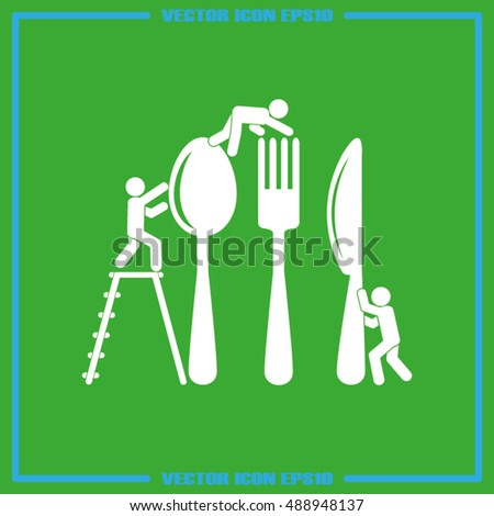 Fork spoon knife and people icon vector illustration eps10.