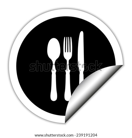 fork spoon knife - black vector icon. Round sticker. - stock vector