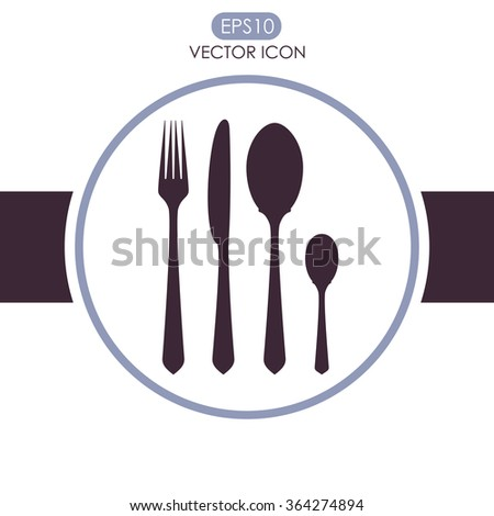 Fork spoon knife icon.