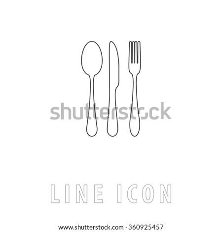 fork spoon knife Outline simple vector icon on white background. Line pictogram with text