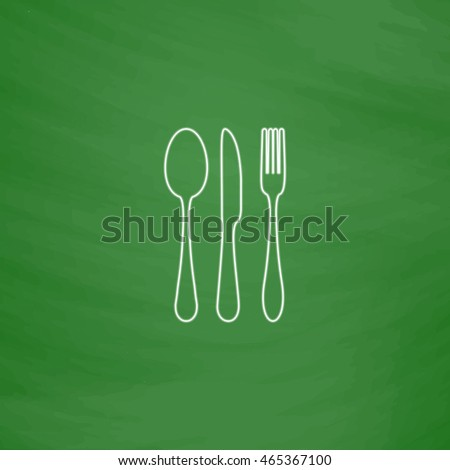 fork spoon knife Outline vector icon. Imitation draw with white chalk on green chalkboard. Flat Pictogram and School board background. Illustration symbol