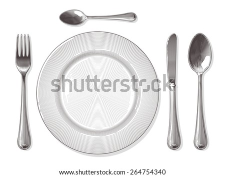 Fork,spoon, knife, plate in vintage engraving style.  Vector illustration, isolated, grouped, transparent background. - stock vector