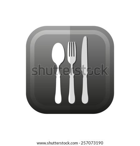 fork spoon knife - vector icon, flat design - stock vector