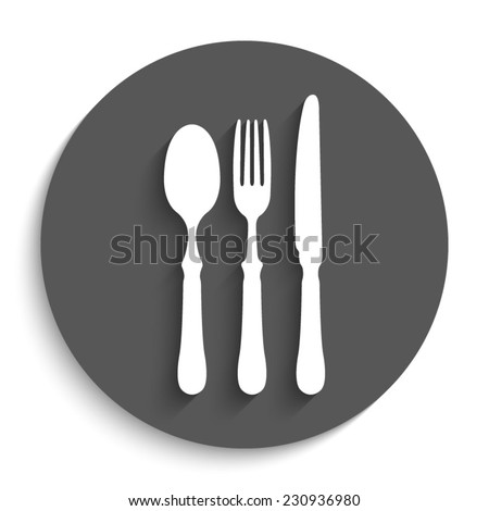 fork spoon knife - vector icon with shadow on a round grey button - stock vector