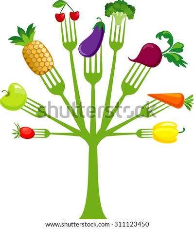 Fork tree with vegetables - stock vector