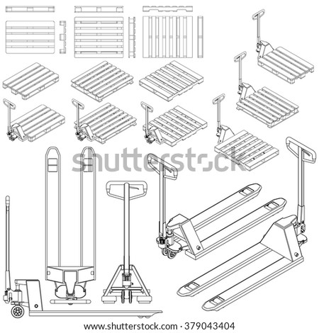 fork truck and pallet set all view drawing outline isometric - stock vector