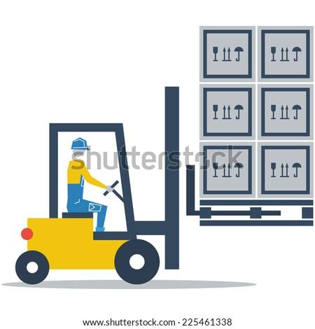fork truck driver vector flat design - stock vector