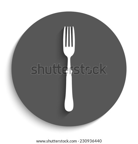fork  - vector icon with shadow on a round grey button - stock vector