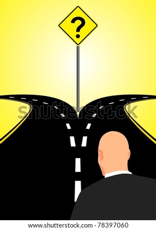 Forked Road - stock vector
