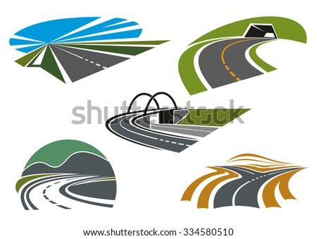 Forked road, mountain highways with tunnel and steep turn, road bridge and speed freeway with blue sky, for transportation industry or travel theme icon design - stock vector