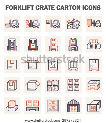 Forklift carton and crate icons sets. - stock vector