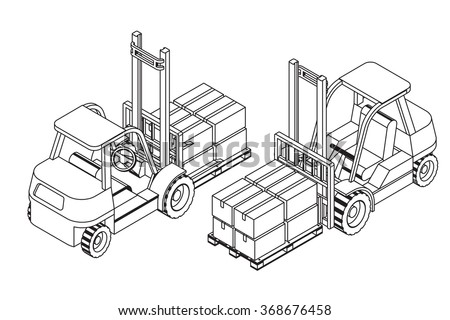 Forklift elevate the pallet with cardboard boxes - two isometric outline views vector illustration - stock vector