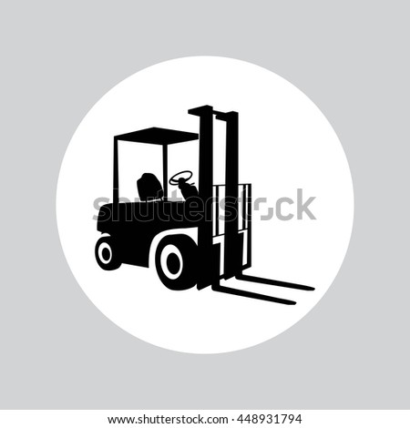 Forklift loader isolated on white. Vector illustration icons. Eps10.