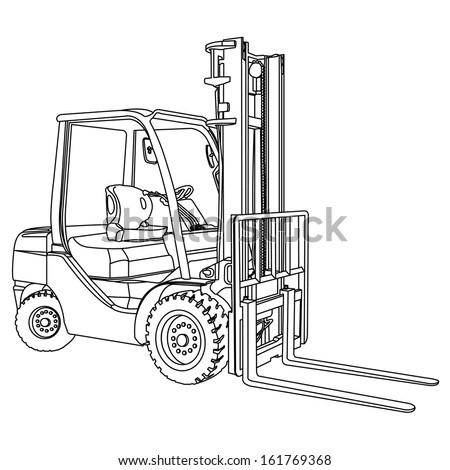 Forklift outline vector - stock vector