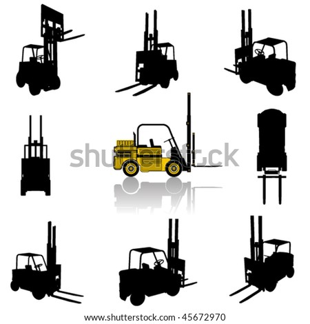forklift silhouette set - stock vector