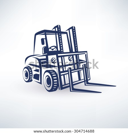forklift stylized vector symbol, isolated silhouette - stock vector